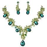 Clearine Damen Hochzeit Braut Kristall Tropfen Filigran Blatt Zweig Statement Halskette Dangle Ohrringe Set Smaragd-Farbe Gold-Ton
