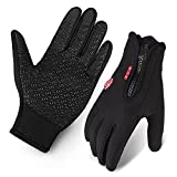 Cycling Gloves, Waterproof Touchscreen in Winter Outdoor Bike Gloves Adjustable Size- Black (X-Large)