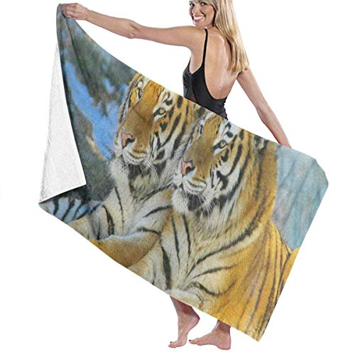 xcvgcxcvasda Serviette de bain, Watercolor Forest Tiger Animal Personalized Custom Women Men Quick Dry Lightweight Beach & Bath Blanket Great for Beach Trips, Pool, Swimming and Camping 31