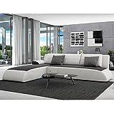 Innocent - Sofá rinconera con función cama en cuero sintético de color blanco con asiento en color negro Movia
