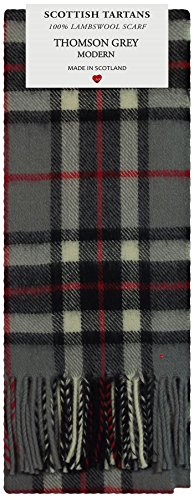 Thomson Grey Modern Tartan Clan Fashion Scarf 100% Lambswool Made in Scotland Tartan Lambswool Scarf