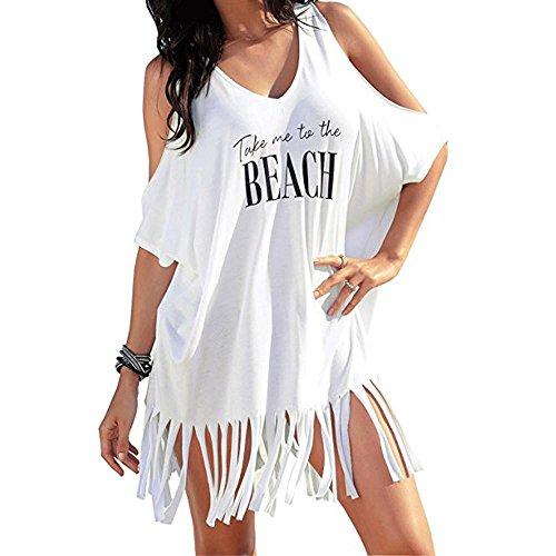 Trajes de Baño Cubrir Mujer, Amlaiworld Vestido Mujer Sexy Ropa de Playa de Verano Cartas de borlas Bikini Cover Up Vestido de Playa Bikini Cubrir (Blanco, S)