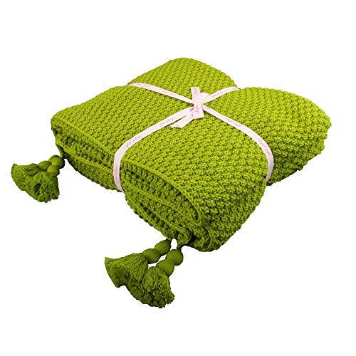 Shaddock 100% Baumwolle Kuscheldecke Tagesdecke Gestrickte überwurf Decke Ultra Weich Warm Wohn-Kuscheldecke für Baby Couch Bett Sofa Stuhl Auto Büro,130x180cm,4 Jahreszeiten Bettdecke (Frucht-Grün) -