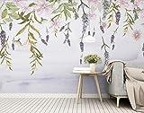 Fototapete Vlies Tapete 3D wallpaper Wanddeko Design Moderne Anpassbare Wandbilder Nordische Frische Grüne Blatt Blume Aquarell Hintergrund