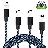 USB Type C Kabel, WZS [ 4 Stück ] 1M 2M 2M 3M Nylon Type C Kabel USB C Ladekabel für Samsung Galaxy Note 9/S9/S9 Plus/ Note 8/S8/S8 Plus, P20 Pro,P10/P20 Lite,Sony, LG,Xiaomi 8 /Mix 2(Schwarz Blau)