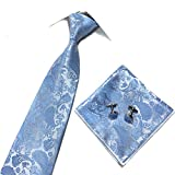 SCFL Men' s 3 Set Long Necktie Self Bow Tie Pocket Square Jacquard Wedding Party Multi Colored