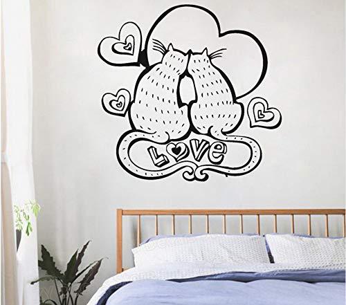 xiaoshuaige Zwei verlieben verliebt Katzen lieben romantische Schlafzimmer Dekor Aufkleber Wandaufkleber Schlafzimmer Dekoration einzigartiges Geschenk für Mutter oder Frau 58x56cm