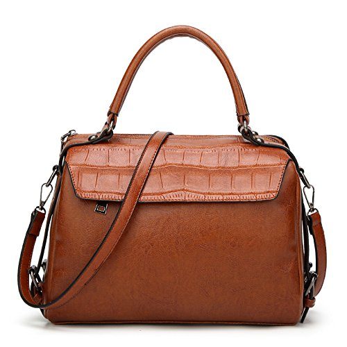 GUANGMING77 _Crocodile Bag Boston Schulter Messenger, Braune Tote (Handtasche Tote Crocodile)