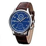Herren Armbanduhr,Kingwo Mens Wristwatch neue Business Uhren Retro Design Lederband Analog Legierung Quarz Armbanduhr Armband 22CM (B)