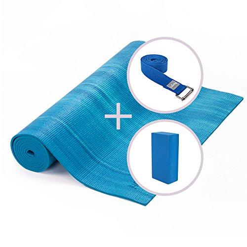 Ganges Yoga Set: Yogamatte (PVC mit OEKO-TEX) mit blau-aqua Farbverlauf, Yoga Klotz (EVA) und Yoga-Gurt (Baumwolle) mit Metallschnalle