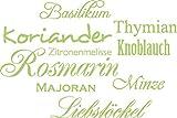 Graz Design Wandtattoo Gewürze für Küchen-Wand | Küchen-Sprüche für Küchenschränke | Wandsticker aus Markenfolie - auch für Esszimmer | in 47 Farben (45x30cm // 822 Water Lilly)