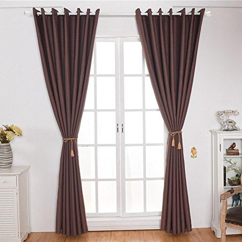 Kong EU Pure Color 2Platten Blackout Vorhang mit Ösen, Weiche Solid Drapes Fenster Behandlung Hohe Shading für Schlafzimmer Wohnzimmer, Polyester, Braun, 140cm Wide x 245cm Drop