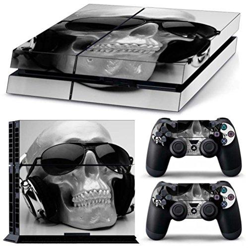 PS4 Skin Aufkleber Sticker Folie schützende Haut Schale für Sony Playstation 4 Konsole und 2 Controller +2 Light bar (Tragen Sie eine Sonnenbrille)