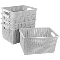 STARVAST Gray Plastic Storage Basket for Home, Kitchen Storage