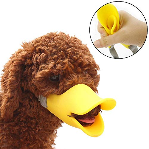 HongYH Anti Bite Duck Mouth Shape Dog Mouth Covers Anti-Called Muzzle Masks Pet Mouth Set Bite-Proof Silicone Material for Small Dogs