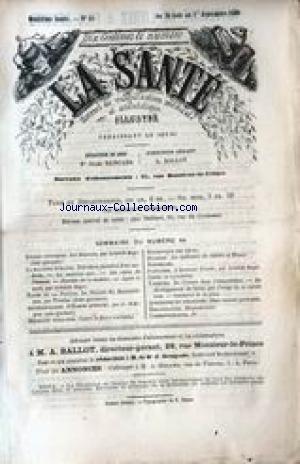 SANTE (LA) [No 44] du 26/08/1869 - LA MACHINE HUMAINE - ARISTIDE ROGER - LES BUISSONS - TRINITUS - L'HOMME PRIMITIF - J. D'ARGENE - STATISTIQUE DES DECES - CHOLERA - DU CRESSON.