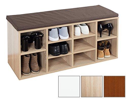 Ricoo armadio scarpe wm033-es-b armadietto scarpiera con scaffale e scompartimenti panca sedile comodo per ingresso ripiano seduta cuscino cassapanca organizer portascarpe salvaspazio/rovere sonoma