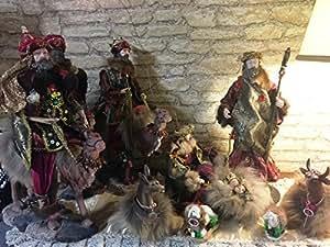 La Favola Incantata® - HANDMADE PRESEPE NATIVITA' SACRA FAMIGLIA ARTIGIANALE PEZZO UNICO DECORATIVO COMPLETO 9 PERSONAGGI INSERTI DI VERO VISONE NATALE MADE IN ITALY