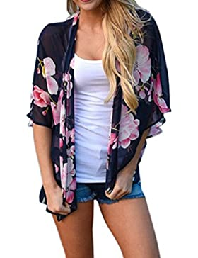 Irina007Las Mujeres De Impresión Floral Playa De Gasa Suelta Chal Kimono Cardigan Blusa Cubierta Superior