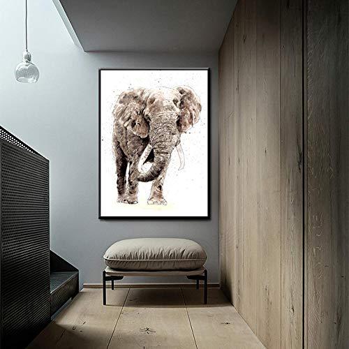 HANTAODG Elefantes Hechos A Mano Abstractos Modernos Posters Impresión Digital En Lienzo...