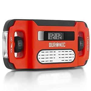 Duronic Apex Radio Am/FM Portátil – Carga Solar, USB o Dinamo – Linterna – Conector de Auriculares y Función de Alarma – Pantalla Digital Retroiluminada – Ideal para Emergencias, Camping, Senderismo