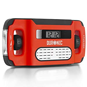 Duronic Ecohand Radio Am/FM Portátil – Carga USB o Dinamo – Linterna – Conector de Auriculares – Ideal para Emergencias, Camping, Senderismo