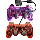 Saloke Gaming Controller für PS2 Double Shock ClearPurple1 and ClearGreen