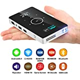 CANGSIKI Android 6.0 100 ANSI Lumens LED Portable Smart Mini Projector With GooglePlay/Netflix/YouTube/Kodi/LiveTV,Home Theater DLP Pocket Video Projector Support 4K Decoding 1080P UHD HDMI In USB TF