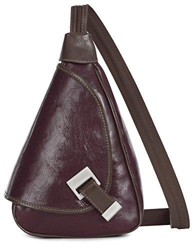 LiaTalia kleine italienische Echtledertasche Schnalle Detail Leder Rucksack mit Schutz-Staubbeutel - Mila Weinrot - Braune Zierteile