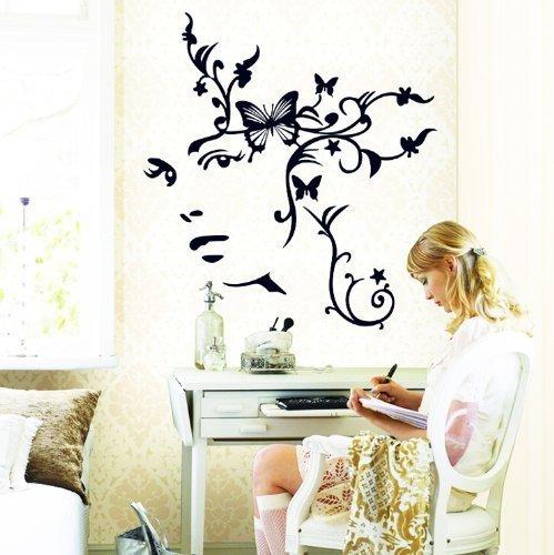 Nero Fiore Farfalla Donna Face Diy Decalcomanie da parete in vinile Donna Fiore