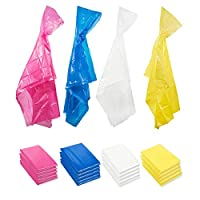 Adults Rain Ponchos with Hood - 20-Count Durable Disposable Emergency Poncho, 4 Colors Pink, Blue, Yellow, Clear, 49.5 x 48.5 Inches