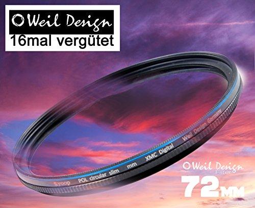 Polfilter POL 72 Circular Slim XMC Digital Weil Design Germany SYOOP * Kräftigere Farben * mit Frontgewinde, 16 Fach XMC vergütet * inkl. Filterbox * zirkulare (72 mm)