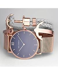 Paul Hewitt PH-M1-R-W-4M - Reloj con correa de acero inoxidable para hombre, color blanco / dorado