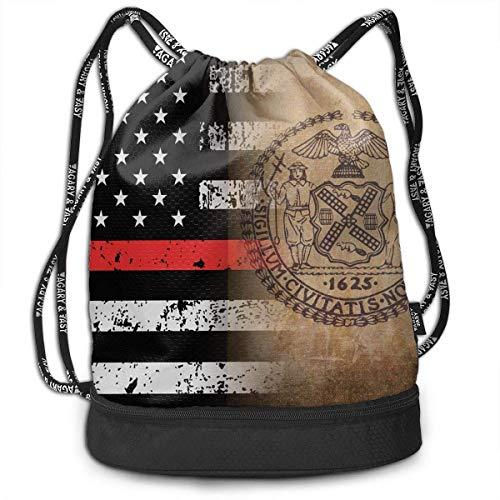 NasNew Thin Red Line New York City Flag Art Multipurpose Drawstring Backpack Bag Bundle Pocket Daypack Gym Bag for Gym Travel