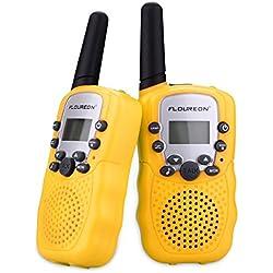 FLOUREON T-388 - 2 x Walkie Talkies 8 canales, 2 way radio, alcance hasta 3km, pantalla LCD , amarillo