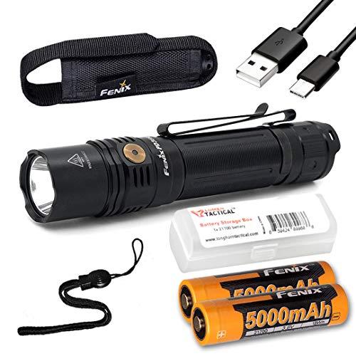 Fenix PD36R Taktische Taschenlampe, 1600 Lumen, Typ C, USB wiederaufladbar, EDC mit 2 Fenix Batterien und LumenTac Batterie-Organizer