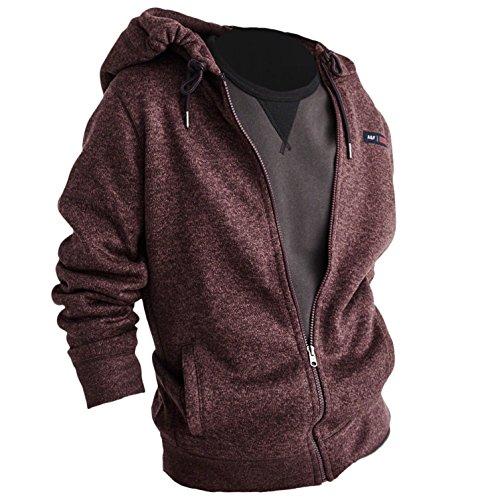 Abercrombie Herren Full-Zip Hoodie Kapuzenpullover Strickjacke Sweater, Größe 2XL, Weinrot (625594890)