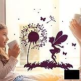 Fensterbild Wandtattoo Pusteblume Fee Schmetterlinge & Punkte Fensteraufkleber Fenstersticker M2093 - ausgewählte Farbe: *schwarz* ausgewählte Größe: *L - 40cm breit x 40cm hoch*