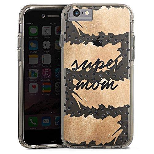 Apple iPhone 6s Plus Bumper Hülle Bumper Case Glitzer Hülle Spruch ohne Hintergrund Muttertag Mama Bumper Case transparent grau