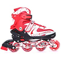 Farraige Latest Inline Skates Size Adjustable All Pure PU Wheels it has Aluminum-Alloy which is Strong with LED Flash Light on one Wheels (Red/Black/Blue)