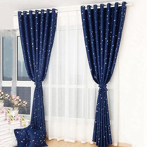 Qianle Rideau Imprimé Occultant Motif Etoile Pastoral avec œillet Fenêtre 1 pièce Bleu marin L