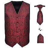 Festnight Herren Hochzeitswesten Set inkl. Weste Krawatte Einstecktuch Manschettenknöpfe Hochzeitsmode mit Paisley-Muster Größe 54 Burgunder