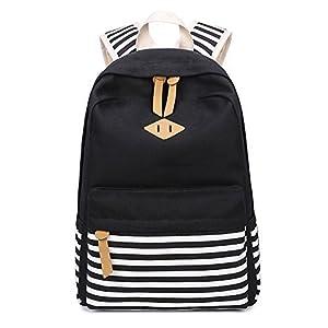 Abshoo Causal Canvas Stripe Backpack Cute Lightweight Teen Backpacks For Girls School Bookbag (Black)
