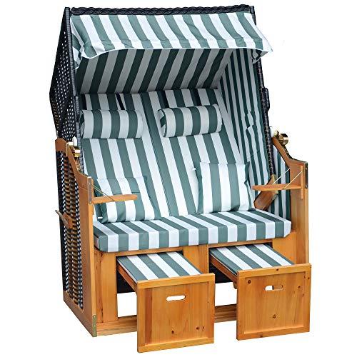 Jalano Zweisitzer Strandkorb mit klappbarer Rückenlehne für 2 Personen 118 x 80 x 160 cm (grün/Weiss)