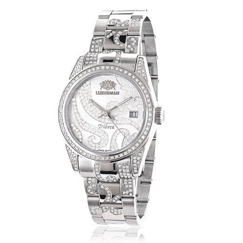 LUXURMAN Tribeca Womens Diamond Bezel & Band Watch 3ct Platinum Plated