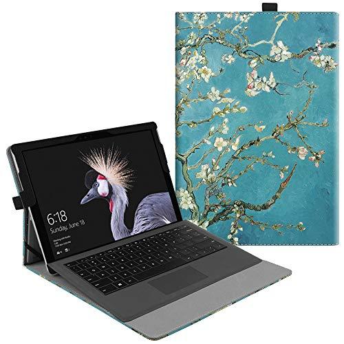 Fintie Hülle für Microsoft Surface Pro 6 (2018) / Pro 5 (2017) / Pro 4 / Pro 3 - Multi-Sichtwinkel Hochwertige Tasche Schutzhülle aus Kunstleder, Type Cover kompatibel, Mandelblüten