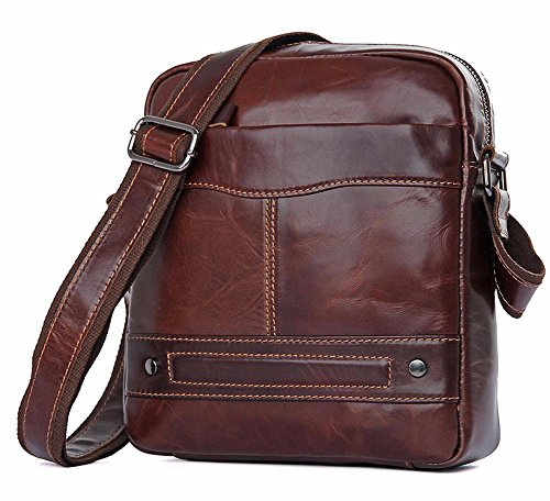 Everdoss Herren Schultertasche Umhängetasche echt Leder Cross Body Messenger Bag Vintage Business Freizeit (Leder Cross Body Messenger)
