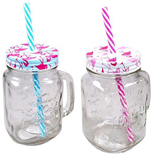 6 x Trinkglas Flamingo mit Deckel und Trinkhalm 450 ml Henkelglas mit Deckel Partyglas