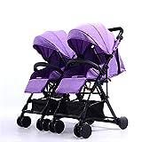 Lvbeis Zwillinge Kinderwagen Doppel Buggy Falten Kinderbuggy Leichte Kombiwagen,Purple