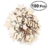 ROSENICE 100 STÜCKE Holz Stern Deko Basteln Holzscheiben für DIY Handwerk Hochzeit Party Dekor (1,5 cm, 2 cm, 3 cm, 3,5 cm Sortierte Größe)